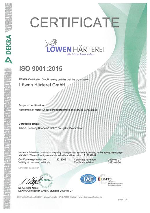 loewen haerterei -Certificate-ISO 9001-2015-EN