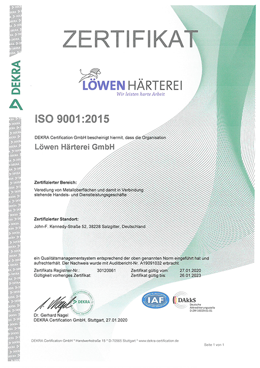 loewen haerterei-Zertifizierung-ISO 9001-2015-DE
